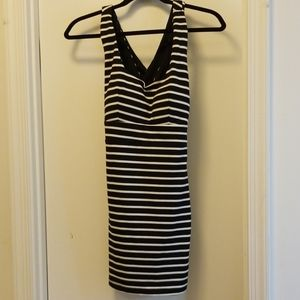 Black and White stripes dress w/ criss cross back